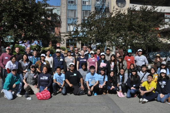 Yale alumni participating in Yale Day of Service in San Francisco Chinatown