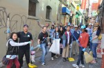 The painting and sweeping crews of Yale alumni at a SF Chinatown alley for Yale Day of Service, May 11, 2013