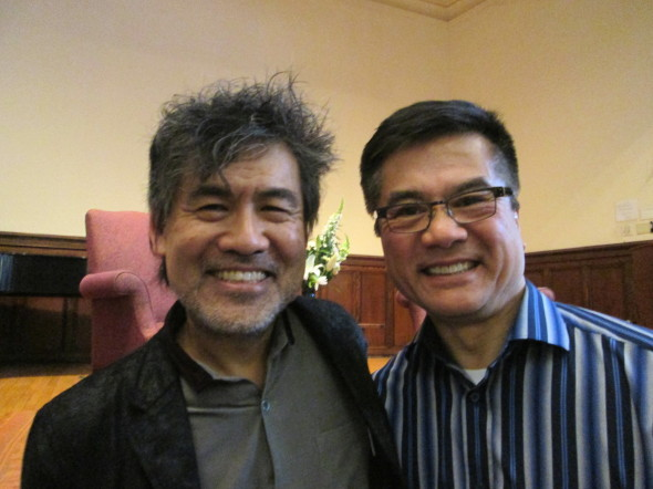 "Life Imitates Art: Tony Award-winning playwright David Henry Hwang, who wrote about the Bo Xi Lai story before it happened (""Chinglish"") and the man who lived through it as US Ambassador to China, Gary Locke (photo by J. Wong)"